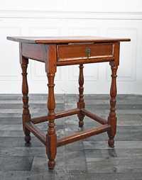 18TH C. SOUTHERN YELLOW PINE SINGLE DRAWER TAVERN TABLE.