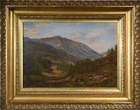 OIL ON CANVAS ATTRIBUTED TO SAMUEL LANCASTER GERRY, MOUNT WASHINGTON FROM JACKSON ON THE GLEN ROAD.