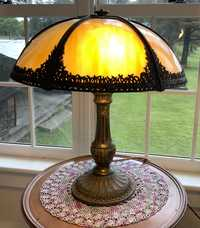 ANTIQUE SLAG PANEL TABLE LAMP