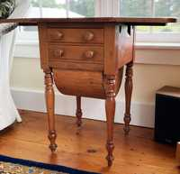19TH C. CHERRY DROP LEAF SEWING STAND