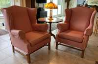 PAIR OF CHIPPENDALE STYLE WING CHAIRS
