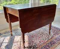 19TH C. SHERATON ROPE CARVED MAHOGANY DROP LEAF TABLE