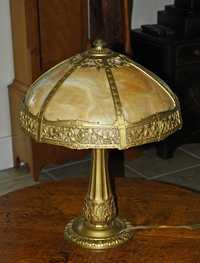 SIGNED MILLER SLAG PANEL TABLE LAMP