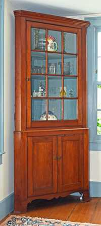 19TH C. AMERICAN FEDERAL CHERRY TWO-PART CORNER CUPBOARD