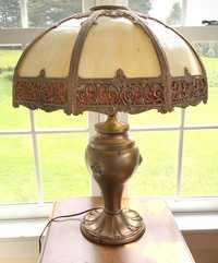"""VINTAGE SLAG PANEL TABLE LAMP, MARKED """"SB"""""""