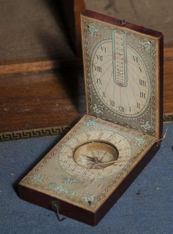 "A 19th C. Folding pocket sundial, approx. 2"" x 3.25"""