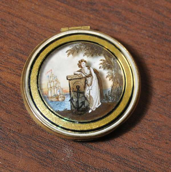 """An exceptional early 19th C. ladies compact, reverse painted memorial scene opening to a painting on ivory of a ship, 1.5"""" diameter with gold case"""