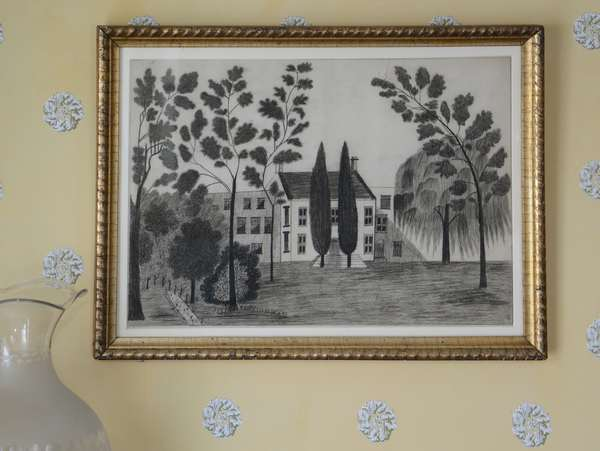 """A folky 19th C. American school graphite sketch showing house and willow trees in a period ripple gold frame. Image size is 12"""" x 17.5"""""""