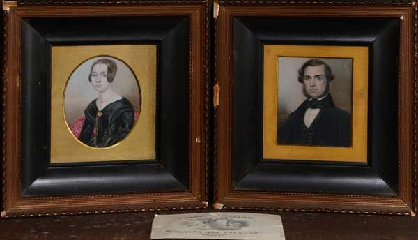 """A pair of 19th C. miniature portrait paintings on ivory. Gentlemen is signed W. H. Miller, New York 1842, 2.5"""" x 2"""" accompanied with a calling card for William H. Miller"""