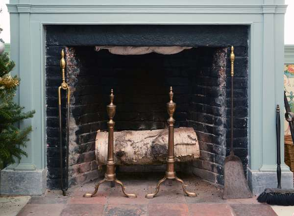"""A pair of Federal brass andirons with urn finials ca. 1790, 23""""H with period fire place tools"""
