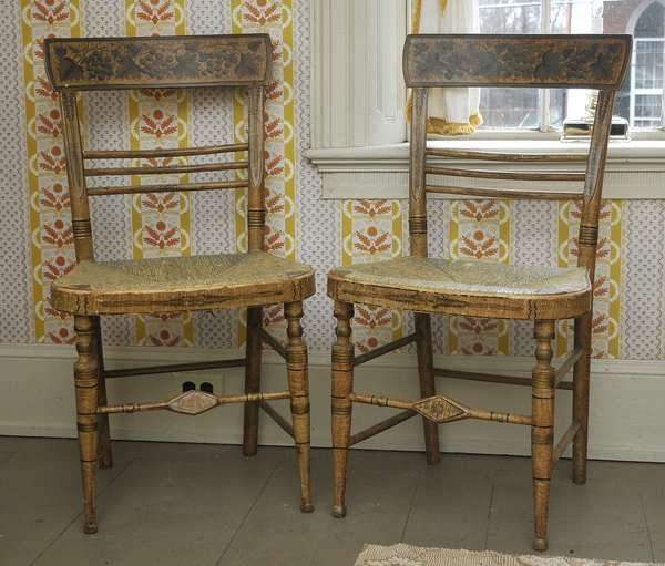 A pair of 19th C. Sheraton paint decorated fancy chairs likely Portsmouth NH examples, see Portsmouth Furniture