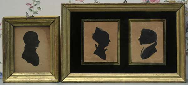 """19th C. American silhouettes, double silhouette of Nancy and Samuel Kaime 1820-1830 Barnstead, New Hampshire, attributed to William Chamberlin, overall size 6"""" x 9"""", other silhouette of Samuel Pratt Ridler ca. 1840, Barnstead, New Hampshire, overall size 5"""" x 4"""""""