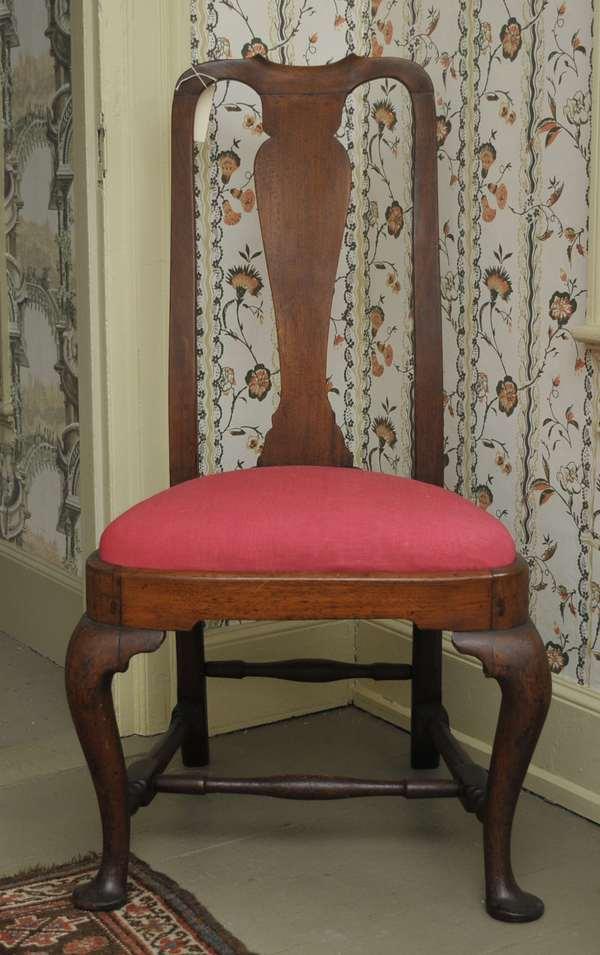 "A fine Queen Anne walnut bloom seat side chair ca. 1740-1760 with the original maple slip seat. Label reads ""This chair belongs to Mr. and Mrs. Samuel Pratt grandparents of Samuel Pratt Ridler."""