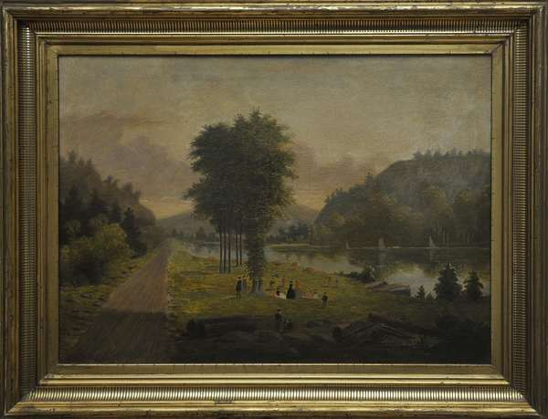"""A good 19th C. American school primitive oil painting depicting a lakeside Sunday lunch with multiple figures, cattle, and sailboats, 15"""" x 20"""""""