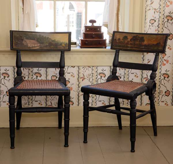 """A rare set of paint decorated Federal fancy chairs, original paint decorated backs with landscape scenes, Probably Baltimore c. 1830 - 32""""H"""