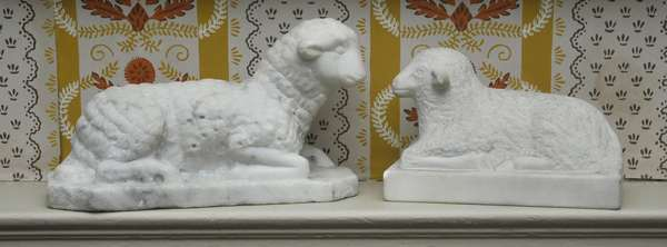 """Two 19th C. carved marble lambs, likely New England origin, 6"""" and 8"""" L."""