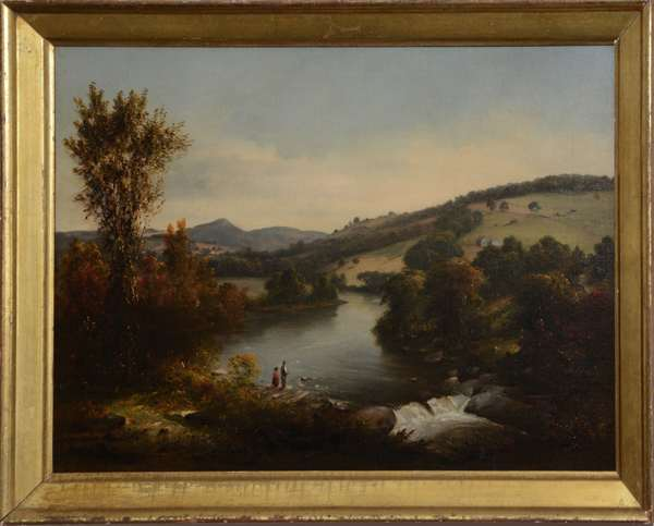 """A 19th C. landscape oil painting likely White Mountains, two figures fishing on river bank early autumn, 14.5"""" x 21.5"""""""