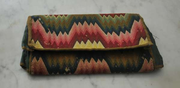 "An 18th C. American flame stitch folding purse, 5"" x 9"" closed"