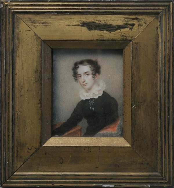 """A 19th C. American school miniature painting in ivory, well executed of a women seated in black dress. 3"""" x 2.5"""""""