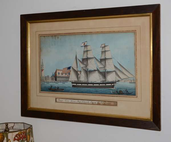 """19th C. marine scene watercolor, """"Barque Vernon, Thomas Slaye Commander Leaving Port of Venice 1853"""", 12.5"""" x 22"""""""