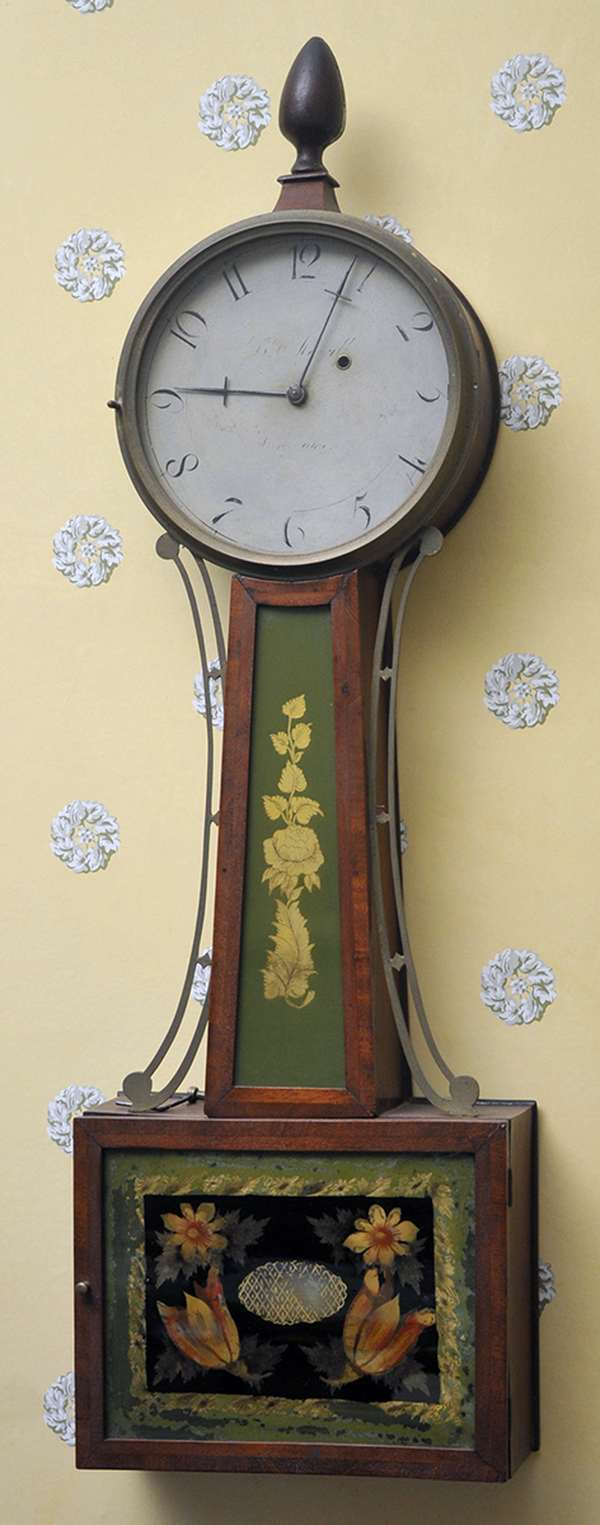 """A fine New Hampshire Federal banjo wall clock with old tablets and original finish, dial signed B. Morrill, Boscawan overall height is 33"""""""