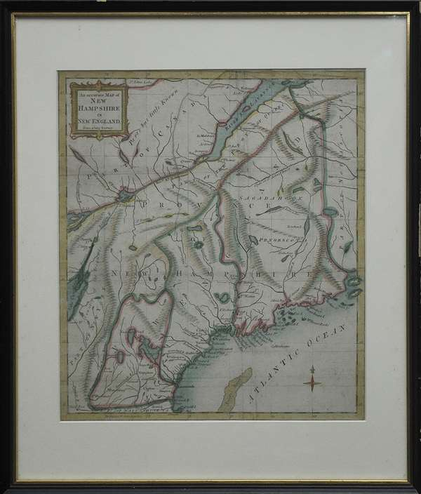 """Framed 18th C. map, """"An Accurate Map of New Hampshire and New England from a Late Survey"""" hand colored, 13"""" x 11"""""""