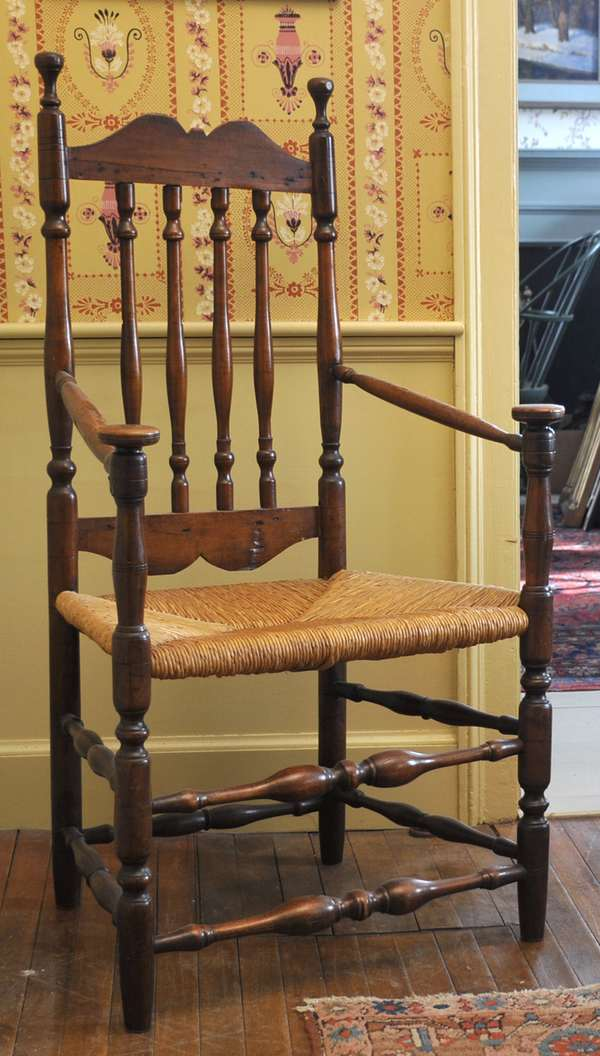 """A good 18th C. New England banister back arm chair, maple/elm with mushroom capped handles and rush seat, 18"""" seat height, 46""""H"""