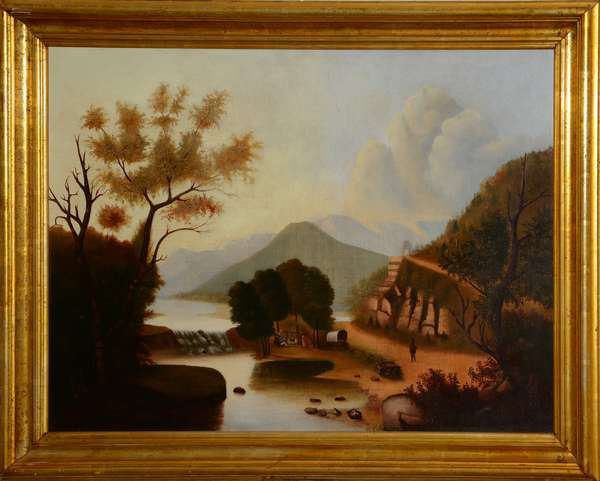 "American school primitive painting, attrib. to Thomas Chambers,  river scene, 33"" x 42"""