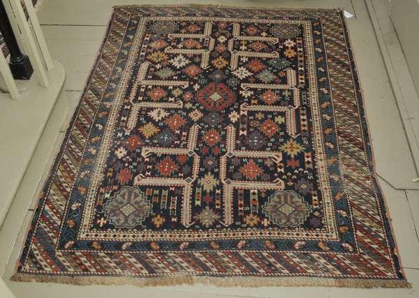 """Antique Oriental rug, Caucasian, 3'11"""" x 5'2"""""""
