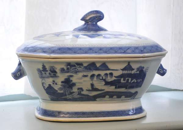 """A 19th C. Chinese export blue and white, Canton, boars head tureen, 13""""L."""
