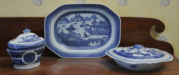 """Three pieces of blue and white 19th C. Chinese export including a 6"""" Fitzhugh covered sugar bowl, 12"""" lozenge shape, 11"""" oval covered vegetable"""