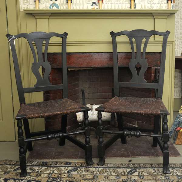 Choice pair of 18th C. Queen Anne Spanish foot New England side chairs with strong block and ring turnings in old paint