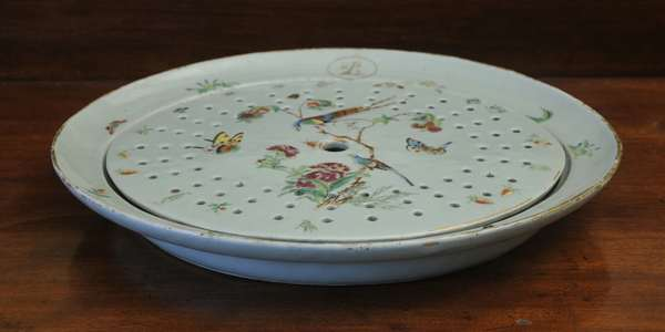 """A 19th C. Chinese export celadon platter with meat strainer. Famille Rose palette, 17""""L."""