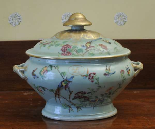 """A 19th C. Chinese export celadon soup tureen with cover, Famille Rose palette, 14""""L. and 12""""H."""