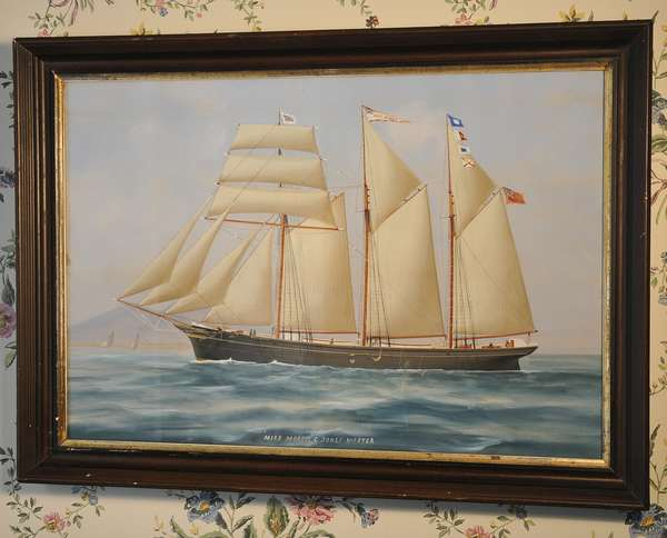"A 19th C. marine gouache sailing ship Ms. Morris, C. Jones Master, 18"" x 26"""