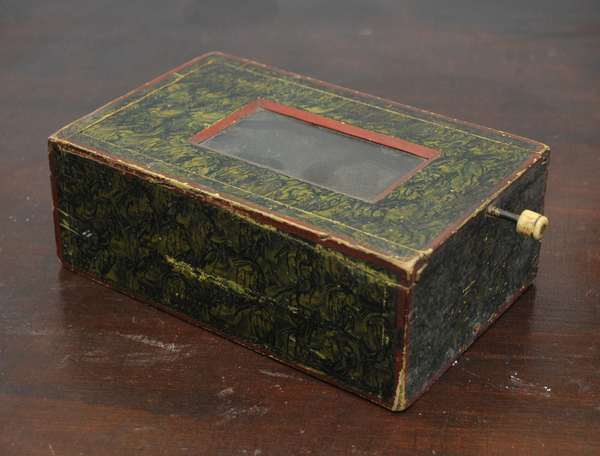 19th C. slide box with window in old sponge paint decoration