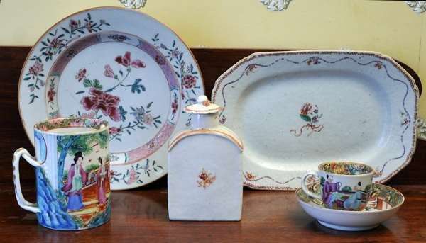 """A group of five Chinese 19th C. export porcelains, 10"""" lozenge shaped platter, 4"""" handled mug, 6"""" tea caddy, 9"""" plate, and a cup and saucer"""