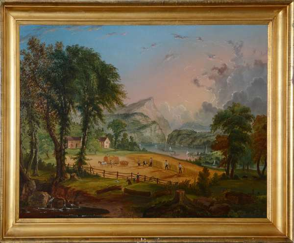 """An Exceptional American school oil on canvas, """" life on the Hudson River"""", provenance attributed to Thomas Rossiter, 31"""" X 41"""""""