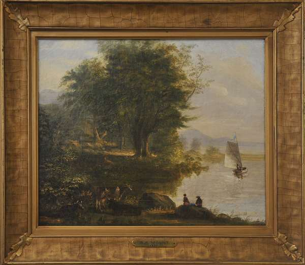 """A oil on canvas figures and cows by riverside likely White Mountain scene signed S.A. Mount, 13"""" x 16"""""""