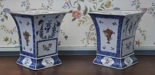 "19th C. Chinese porcelain cache pots 9.25"" H"