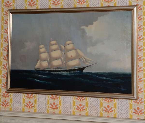"Oil on canvas, sailing ship, Dreadnaught, Chas. Torrey 1916, 25"" x 42"""