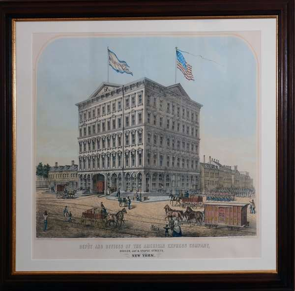 """A 19th C. litho. """"Depot and Offices of the American Express Company, Hudson, Jay, & Staple Streets"""" by Jay Spear, John W. Rich architect with historical documentation on reverse, image size is 18"""" x 24"""""""