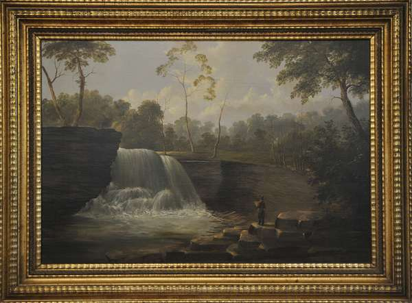 """A Mid 19th C. American school oil on canvas, cascading falls with figure, signed A. Andrews. 25""""H. x 36""""W. in a beautiful rippled, lemon gold frame"""