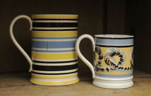 """Two 19th C. English pearlware mugs, 5"""" banded and 3.5"""" earth worm"""
