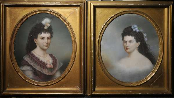 """A pair of 19th C. pastel portraits two sisters signed G. D'Almiane 1871, 26"""" x 21"""" oval."""