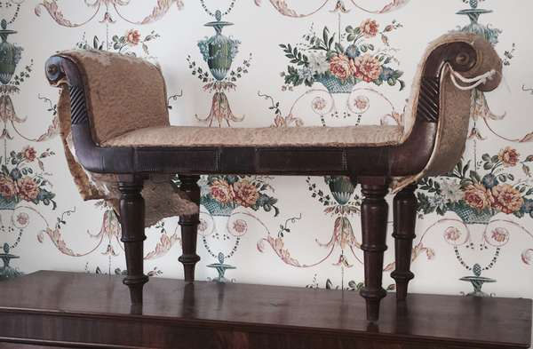 """A rare little English Regency miniature window seat, carved mahogany frame, 32""""L. x 19""""H."""