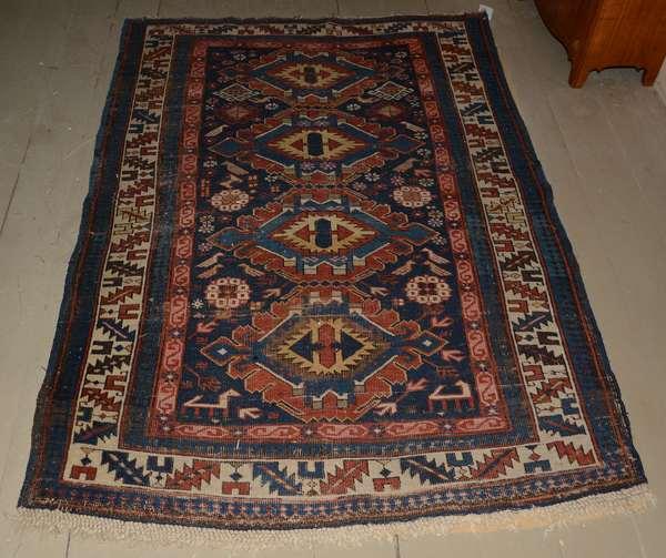 "Antique Oriental rug, 3'6"" x 5'"