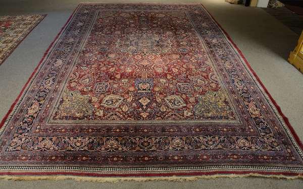 """Antique roomsize oriental rug - 10' x 15'5"""""""