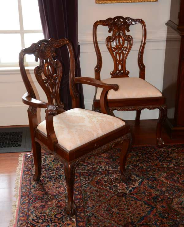 Set of twelve mahogany Chippendale style dining chairs (25-77)