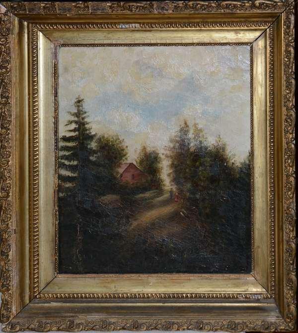 Small 19th C. primitive landscape painting (25-6)